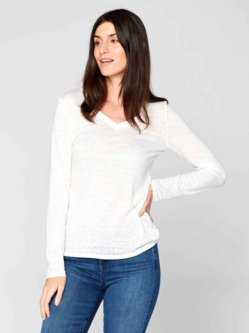 Long Sleeve Vintage Wash V-Neck Tee Womens Tops Threads 4 Thought XS WHITE