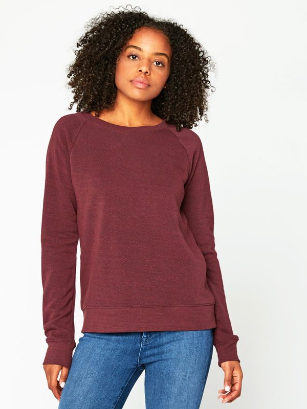 Triblend Raglan Pullover Womens Outerwear Sweatshirt Threads 4 Thought XS Maroon Rust