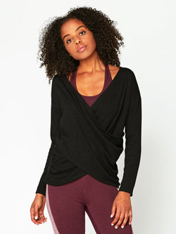 Meridian Wrap Top Womens Tops Top Threads 4 Thought XS Black