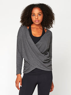 Meridian Wrap Top Womens Tops Top Threads 4 Thought XS Heather Charcoal