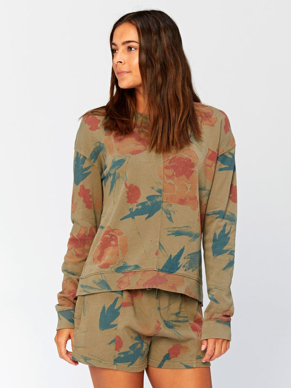 Effie Floral Printed Pullover Womens Outerwear Sweatshirt Threads 4 Thought XS Artichoke