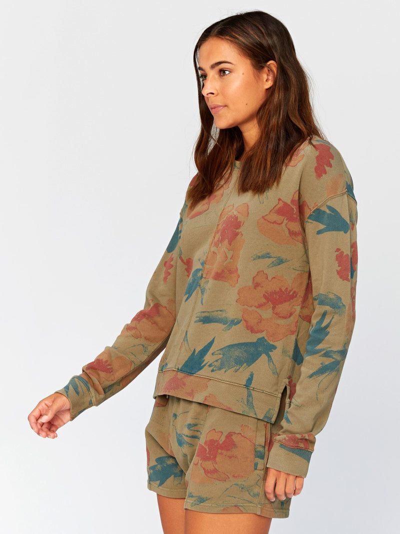 Effie Floral Printed Pullover Womens Outerwear Sweatshirt Threads 4 Thought