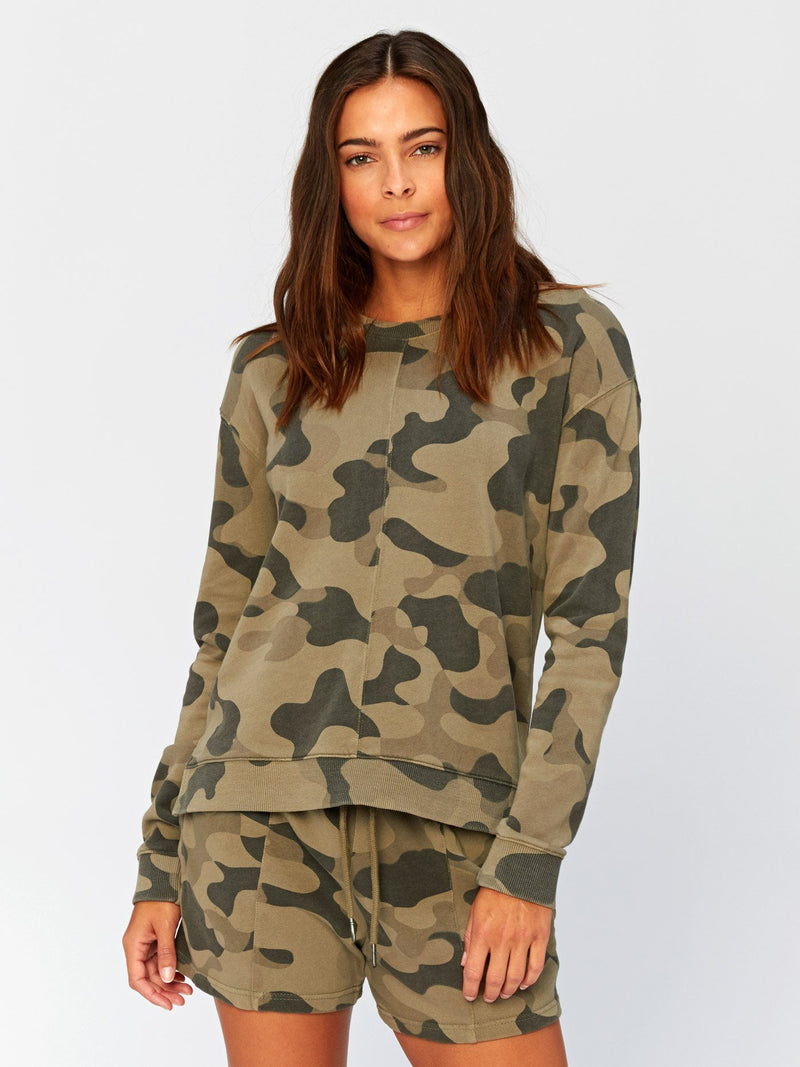 Effie Camo Printed Pullover Womens Outerwear Sweatshirt Threads 4 Thought XS Artichoke