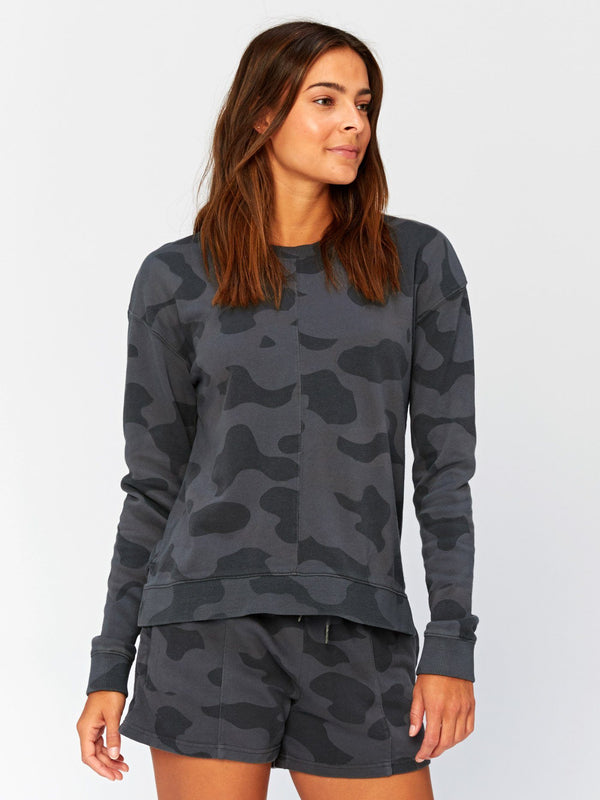 Effie Camo Printed Pullover Womens Outerwear Sweatshirt Threads 4 Thought XS Graphite
