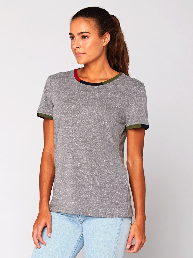 Mimi Colorblock Trim Tee Womens Tops Threads 4 Thought XS Heather Grey
