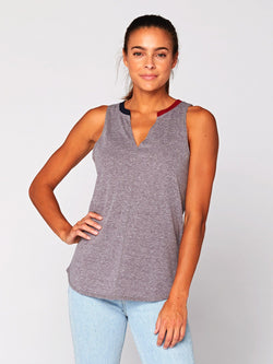 Pia V-Neck Tank Womens Tops Threads 4 Thought XS Heather Grey