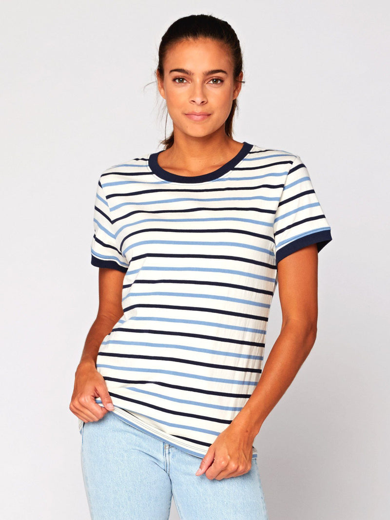 Zaylee Stripe Ringer Tee Womens Tops Threads 4 Thought XS Blue Multi