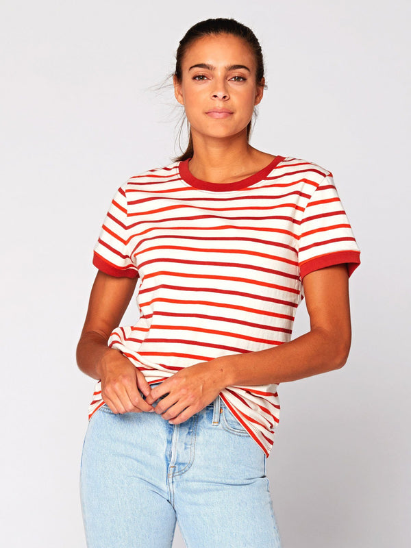 Zaylee Stripe Ringer Tee Womens Tops Threads 4 Thought XS Red Multi