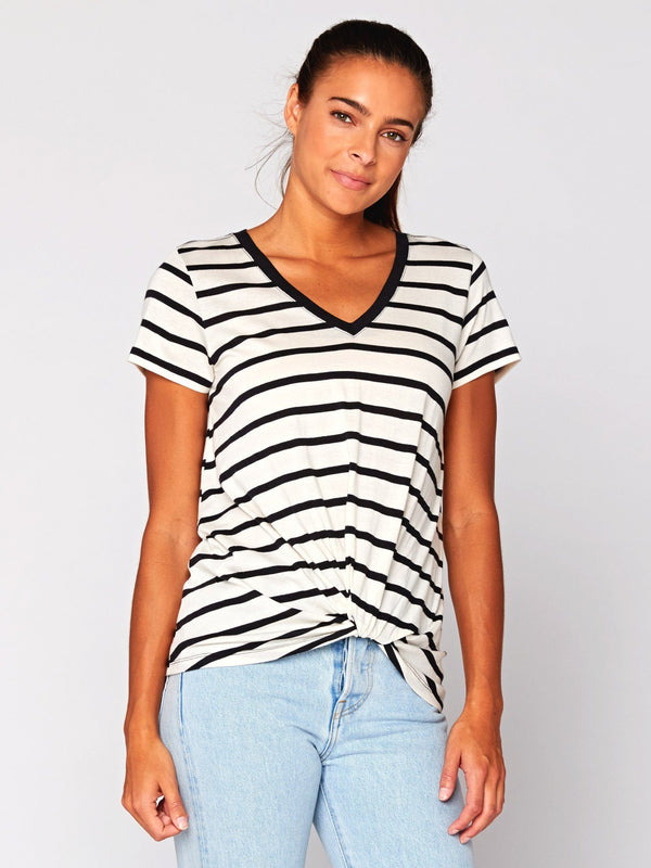 Aisha Stripe Jersey Top Womens Tops Threads 4 Thought XS Black