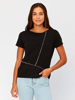 Kristin Contrast Stitch Top Womens Tops Threads 4 Thought XS Black