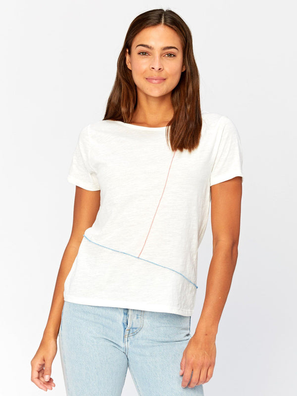 Kristin Contrast Stitch Top Womens Tops Threads 4 Thought XS White