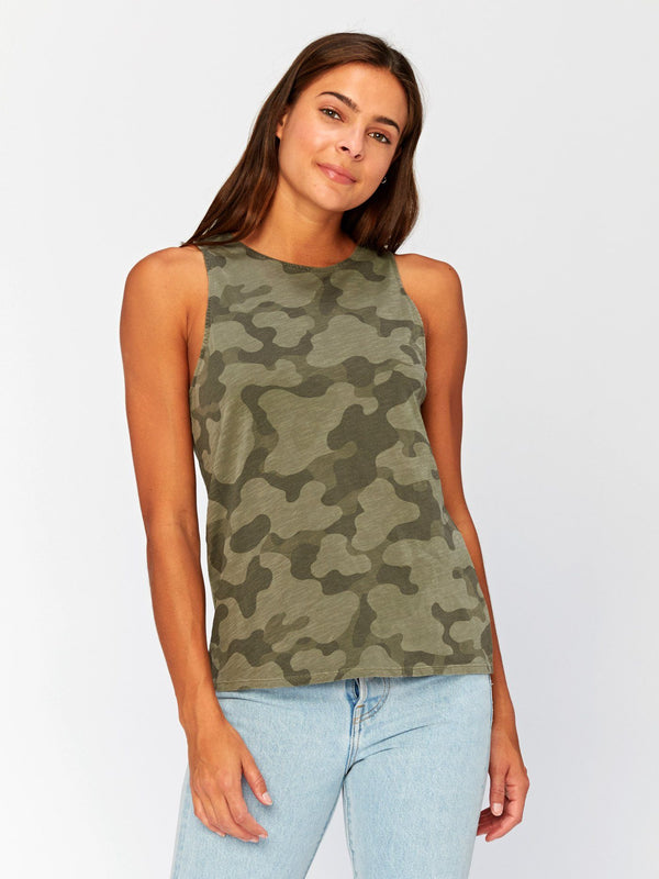 Venus Camo Printed Tank Womens Tops Threads 4 Thought XS Artichoke