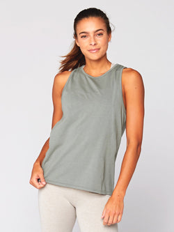 Cindy Cross-Back Tank Womens Tops Threads 4 Thought XS Artichoke