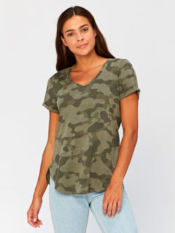Imani Scoop Hem Camo Graphic Tee Womens Tops Threads 4 Thought XS Artichoke