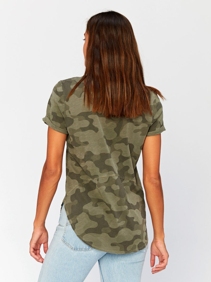 Imani Scoop Hem Camo Graphic Tee Womens Tops Threads 4 Thought