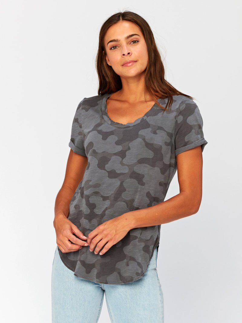 Imani Scoop Hem Camo Graphic Tee Womens Tops Threads 4 Thought XS Graphite