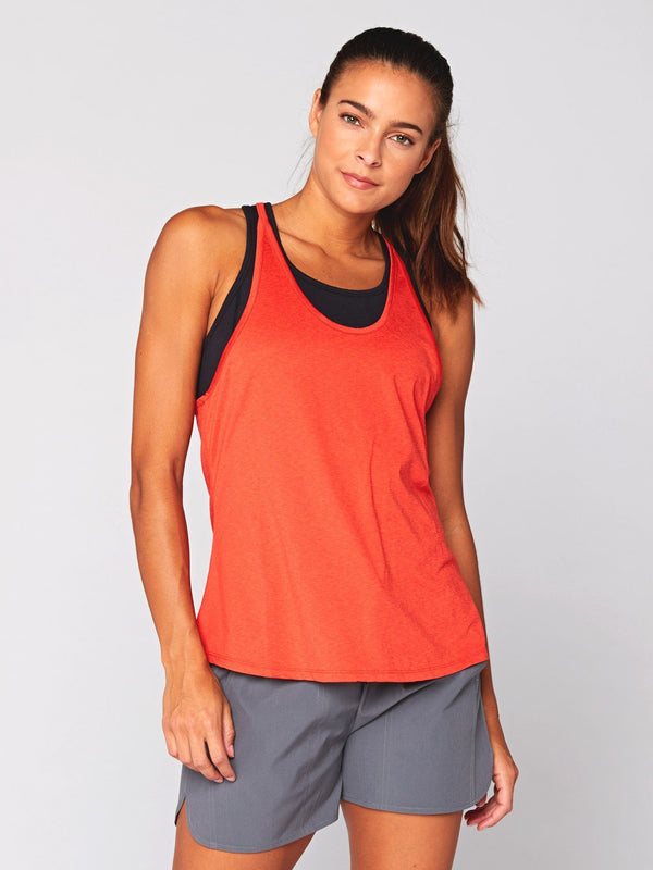 Cassia Active Tank Womens Tops Tank Threads 4 Thought XS Heather Paprika