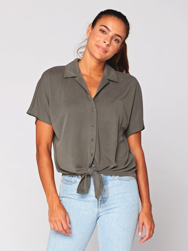 Sheena Sandwash Button-Up Womens Tops Threads 4 Thought XS Artichoke