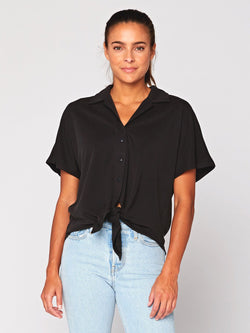 Sheena Sandwash Button-Up Womens Tops Threads 4 Thought XS Black