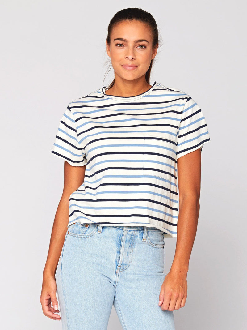 Maggie Stripe Tee Womens Tops Threads 4 Thought XS Blue Multi