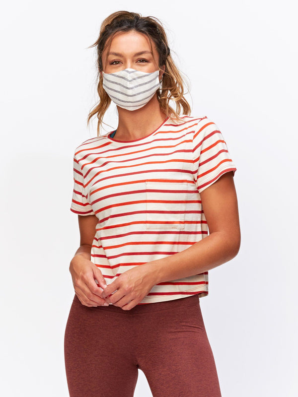 Maggie Stripe Tee Womens Tops Threads 4 Thought XS Red Multi