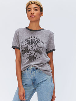 Sun and Sea Graphic Tee Womens Tops Threads 4 Thought XS HEATHER GREY