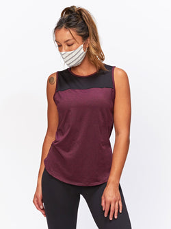Helene Active Tank Womens Tops Tank Threads 4 Thought XS Heather Royal Burgundy