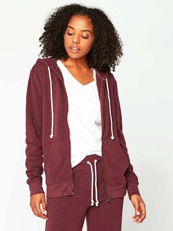 Triblend Zip Hoodie Womens Outerwear Sweatshirt Threads 4 Thought XS Maroon Rust