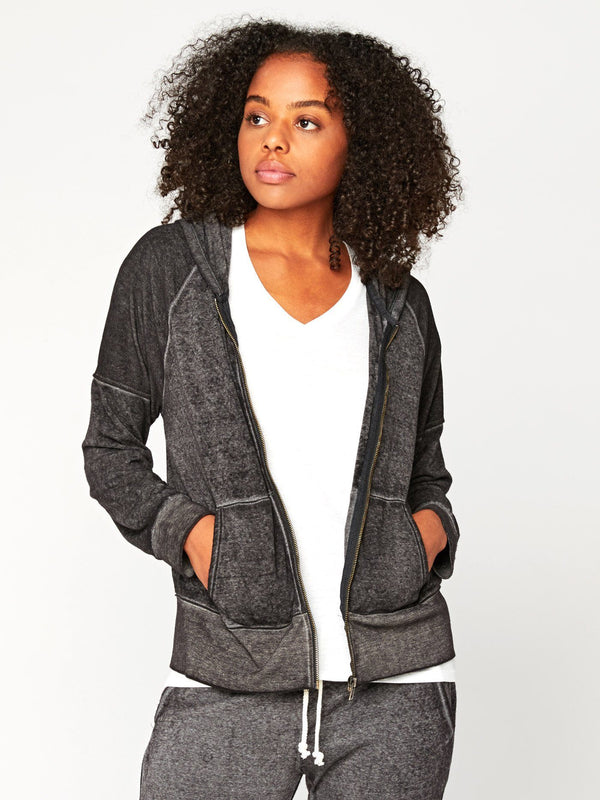 Geraldine Burnout Zip Hoodie Womens Outerwear Jacket Threads 4 Thought XS Black