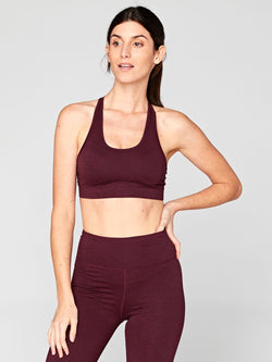 Malana Sports Bra Womens Tops SportsBra Threads 4 Thought XS Heather Royal Burgundy