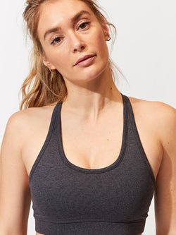 Malana Sports Bra Womens Tops SportsBra Threads 4 Thought XS Heather Charcoal