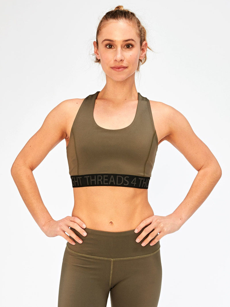 Tranquil Wrap Sports Bra Womens Tops SportsBra Threads 4 Thought XS Ranger Green