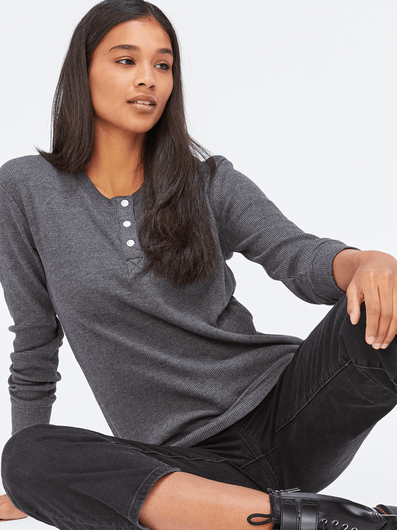 Long Sleeve Thermal Henley Womens Tops Top Threads 4 Thought