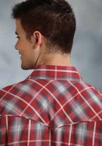 Karman Special Styles Polyc Mens Long Sleeve Shirt 0297 Red Grey Plaid
