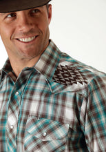 Karman Special Styles Polyc Mens Long Sleeve Shirt 0929 Turquoise And Brown Plaid