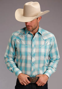 Karman Special Styles Polyc Mens Long Sleeve 2817 Turquoise Cream Plaid