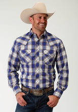 Karman Special Styles Polyc Mens Long Sleeve 2824 Cobalt Grey White Plaid