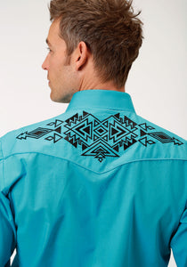Karman Special Styles Polyc Mens Long Sleeve Shirt 1221 Solid Broadcloth - Turquoise