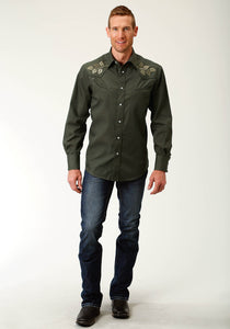 Karman Special Styles Polyc Mens Long Sleeve 3019 Solid Broadcloth - Olive