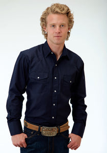 Karman Classics- 5545 Solids Polyc Mens Long Sleeve Shirt 0772 Solid Broadcloth - Navy