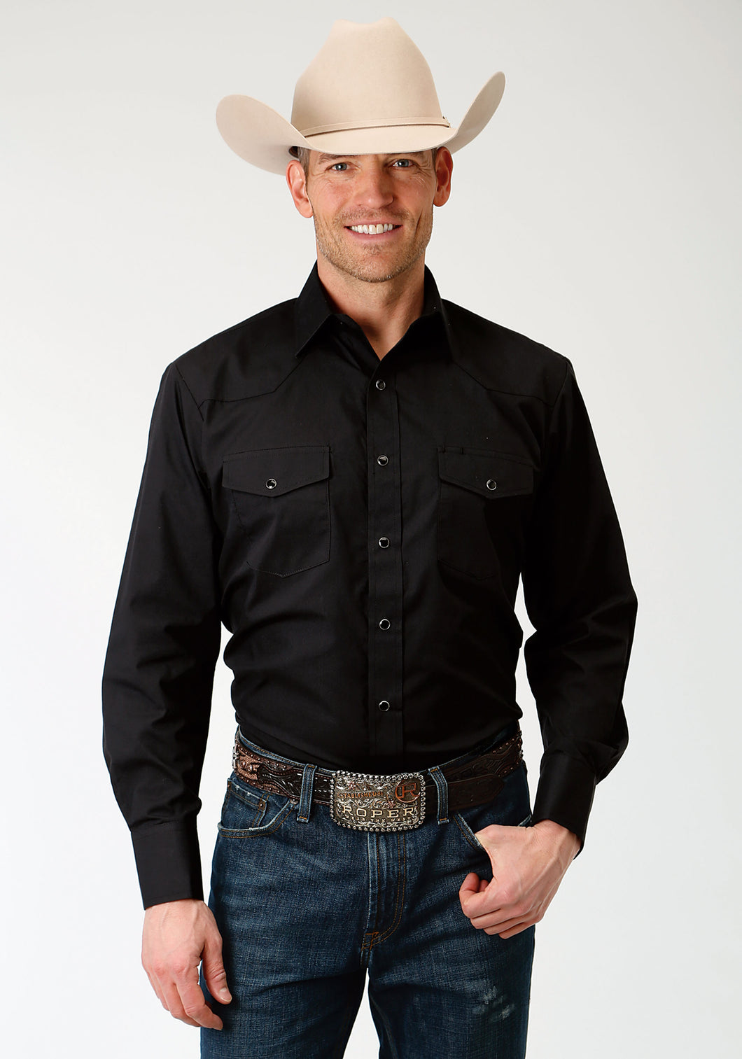 Karman Classics- 5545 Solid Polyc Mens Long Sleeve Shirt 1221 Solid Broadcloth - Black