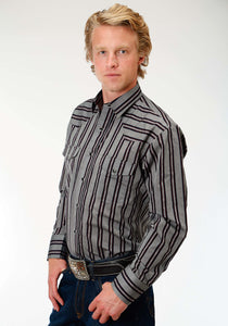 Karman Classics- 5545 Yd Stripe Polyc Mens Long Sleeve Shirt 1198 Greyblack Red Stripe Wdobby