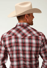 Karman Classics- 5545 Plaid Polyc Mens Long Sleeve 2829 Red Black White Plaid