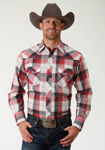 Karman Classics- 5545 Plaid Polyc Mens Long Sleeve 2793 Red White Blue Plaid