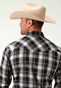 Karman Classics- 5545 Plaid Polyc Mens Long Sleeve 2819 Black White Satin Stitch Plaid