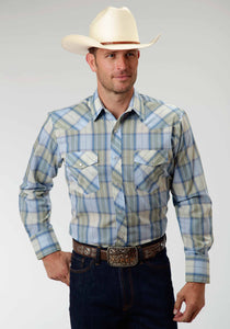 Karman Classics- 5545 Plaid Polyc Mens Long Sleeve Shirt 0420 Moss Plaid