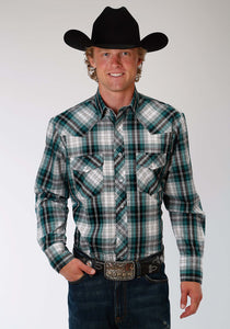 Karman Classics- 5545 Plaid Polyc Mens Long Sleeve Shirt 1017 Teal Black White Plaid