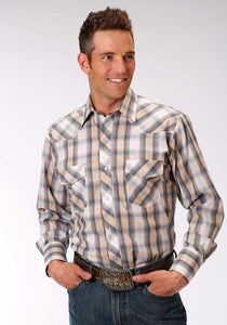 Karman Classics- 5545 Plaid Polyc Mens Long Sleeve Shirt 1025 Tan Blue Plaid Wgold Lurex