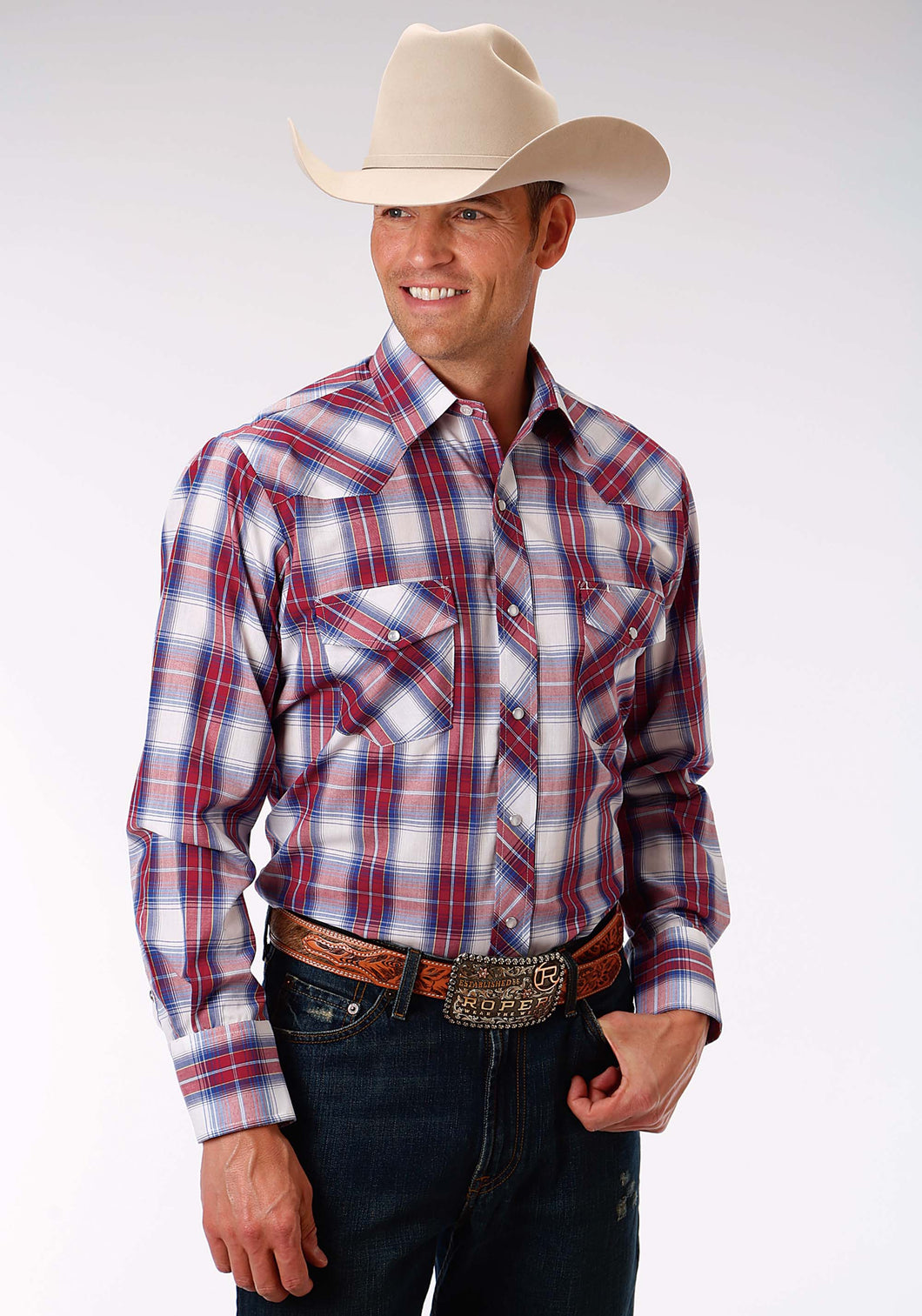 Karman Classics- 5545 Plaid Polyc Mens Long Sleeve Shirt 1028 Royal Red White Plaid