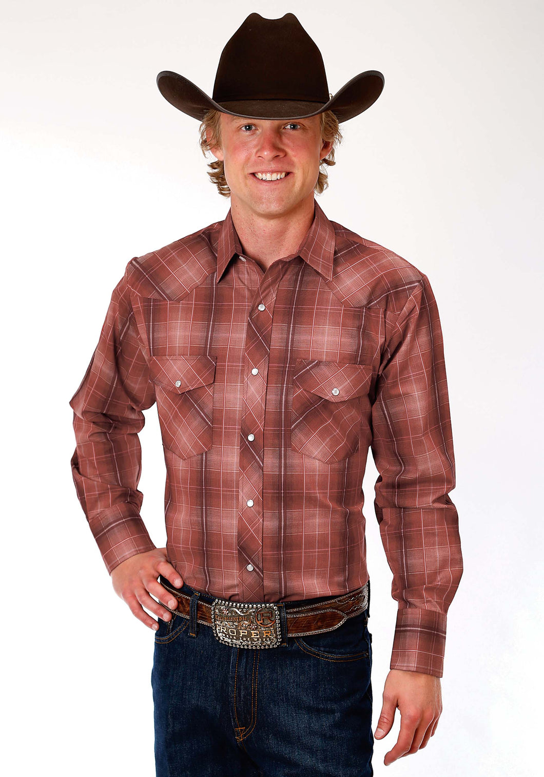 Karman Classics- 5545 Plaid Polyc Mens Long Sleeve Shirt 1216 Russet Plaid Wsatin Stripes